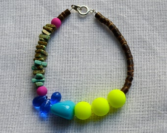 Super Bold Neon Beaded Bracelet with Turquoise, Fuchsia, Cobalt, and Wood Detail