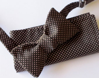 Men's bowtie - Chocolate brown with mini pink polka dots  - choose your combination