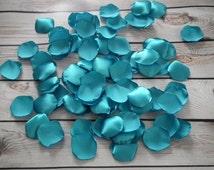 Turquoise (aqua) satin rose petals - for beach wedding, anniversary, or romantic date night, made to order