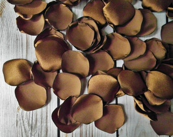 MOLASSES satin rose petals, brown artificial flower petals for wedding, anniversary, or romantic date night, made to order