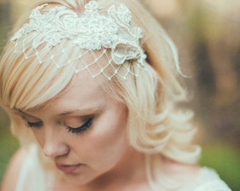 Ready to Ship, Champagne, white, or Ivory Birdcage Veil with Merry Widow Netting Lace - Ivory Birdcage Veil, Ivory Bridal Headband - 120BC