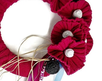 Raspberry Knitted Wreath Up Cycled Sweater Wreath Cable Knit Pink and Gray Wreath