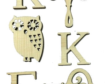 Kappa Kappa Gamma wood cut outs for Sorority Crafts and Gifts,  Letters, Owl, Key, Fleur d Lis Laser Cut Shapes