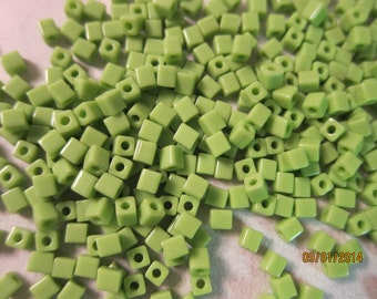4x4mm, Miyuki Cube or Square Beads, Opaque Light Green - Available in 20g, 30g & Larger Pkgs
