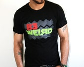 Red and Neon Yellow Be Weird Black T-shirt