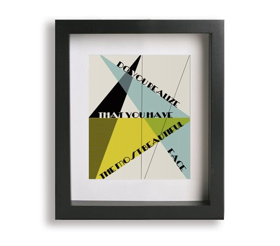 Do You Realize inspired song lyric art - mid century modern, birthday gift, husband gift, geometric, music poster