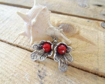 Red Coral Earrings, Telkari Silver Earring,Best Friend Birthday, Feminine Earring