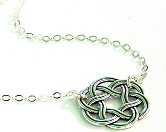 All Sterling Silver Celtic Necklace, Celtic  Knot minimalist  sterling silver Irish jewelry