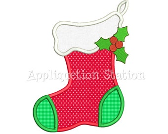 Stocking Applique Machine Embroidery Design Christmas Holiday Winter INSTANT DOWNLOAD