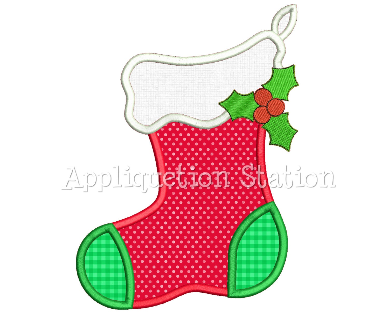 Stocking applique machine embroidery design christmas