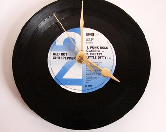 "Red Hot Chili Peppers CLOCK, made from a recycled 7"" vinyl record, ""Taste The Pain"", or ""Show Me Your Soul"", black white blue,"