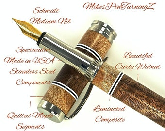 Custom Wooden Pen Fountain Curly Black Walnut Quilted Maple & Laminated Composite Segments Made In USA Stainless Steel Hardware 700FPSSA