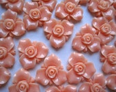 Tiny Resin Roses, 15mm Resin Peachy Orange Flower Cabochon, 10 pc, Perfect for Rings, Bobby Pins and more