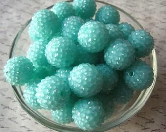 Aqua Disco Ball Bead, Rhinestone Bead, 10 pcs, 20mm Bumpy Chunky Necklace Bead, Gumball Beads, Bubblegum Bead, Acrylic Bead