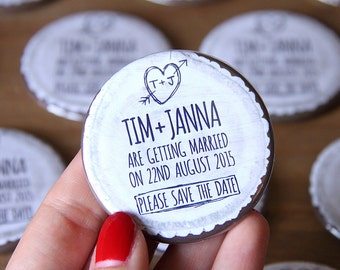 WOODLAND (white) design - Save the Date Magnets x 40