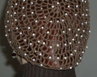 Cotton Handmade Beaded Hair Snood in my Standard Pattern-Beads on every other row
