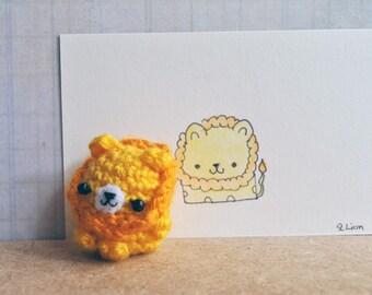 Amigurumi Lion (Crocheted doll) cute keychain, unique stocking stuffer