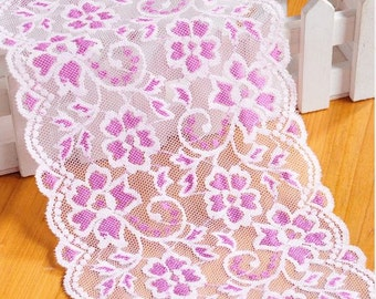 2 Yards Light pink mesh with Purple flower lace trim  5.9 Inch (15CM) flower lace lacemode 0235