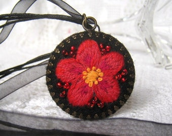 Hand embroidered jewelry, embroidered pendant necklace with red flower