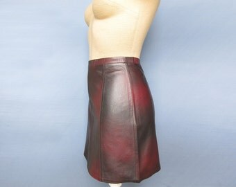 Womens Burgundy Mini Skirt 100% Genuine bordo Leather New