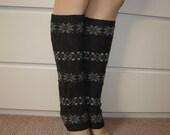 Grey Leg Warmers, Boho Snowflake Pattern Legwarmers, Woman Aztec Tribal Knit Boot socks, Christmas Stocking Stuffers