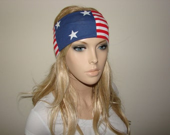 American Flag Turban Headband, Winter Olympics USA Hair Band jersey knit, Patriotic Wide Yoga Headband, 4th of July headband, head wrap