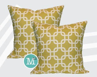 Yellow Gotcha Pillow Covers - Summerland Yellow - 20 x 20 and More Sizes - Zipper Closure