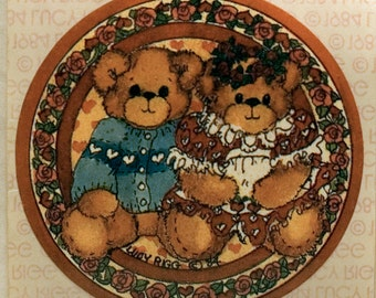 Lucy Rigg Teddy Bear couple vintage sticker, 1984