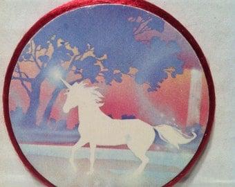 Handmade white Unicorn magnet ,1990's