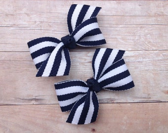 Adorable navy blue striped pigtail bows, navy blue bows, toddler bows, pigtail bows, baby bows, girls hair bows, navy bows