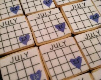Save the Date Cookies, Shower Favors, Calendar Cookies, Wedding Cookies, Bride and Groom