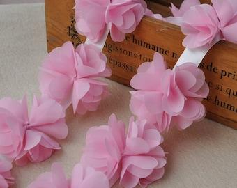 peach Chiffon Leaves Wedding Dress Lace Trim DIY Fabric Crafts Alterations Supplies Fashion and Grace