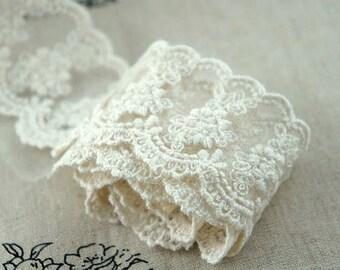 ivory lace fabric trim, antique style trim lace, floral lace trim