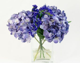 Purple Hydrangea Arrangement Silk Flowers Greenery Spray Artificial Faux in Tall Square Vase