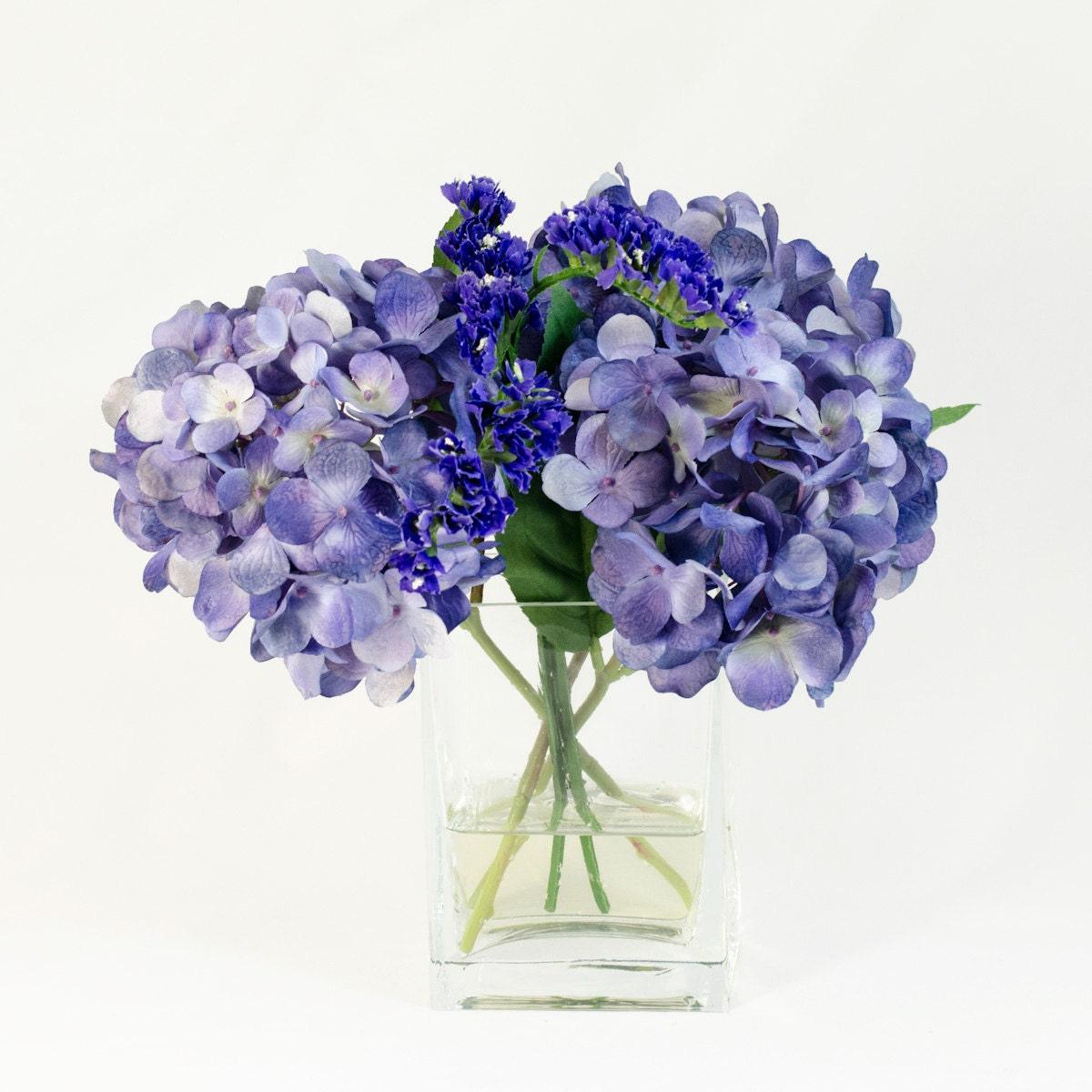 Purple Hydrangea Arrangement Silk Flowers Greenery Spray