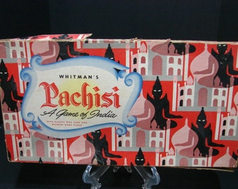 Pachisi a Game of India Board and Box from Whitman 1945 Retro Ephemera, Vintage Charm Parchisi Old Style