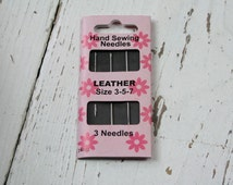 Leather Needles, Hand Sewing Needles, Pack of 3 Needles, Dressmaking, Leatherwork