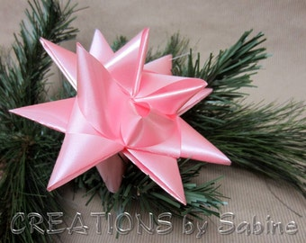 Large Pink Star Ornament Tree Topper Baby's First Nursery Decor Ribbon Decoration Nursery Decor 3d Origami READY TO SHIP (21)