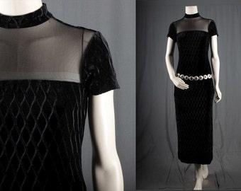 Black maxi dress Velvet Mesh net chevron design disco vintage women size S small