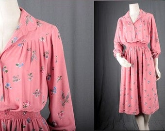 Pink Dress floral vintage midi cocktail party fifties sixties women size S small