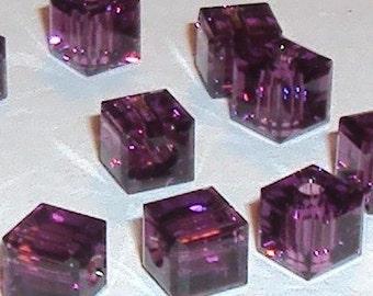 Beader's Crystal CUBE AMETHYST Glass Beads