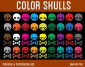 Color Skulls Clip Art - Digital Clipart for Personal & Commercial Use