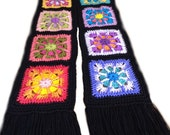 Crochet granny square scarf crochet kaleidoscope scarf crochet rainbow scarf  MADE TO ORDER