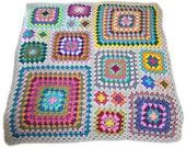 Crochet afghan crochet blanket handmade blanket kaleidoscope granny square afghan, light grey border, MADE TO ORDER