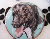 CLEARANCE - Greyhound Original Art Pin or Magnet