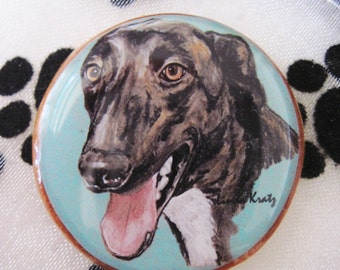 CLEARANCE - Greyhound Original Art Pin or Magnet