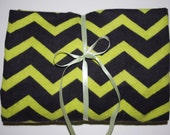 Pack n Play Sheet - Fitted Cotton Flannel Playard Sheet for Baby or Toddler - Chevron Black/Lime green