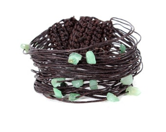 Turquoise & waxed string Bracelet Handmade From THAILAND (B008-G)