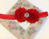 Red Shabby Chic Flowers on an Red Headband with Rhinestone/Pearl Embellishment, Infant to Adult