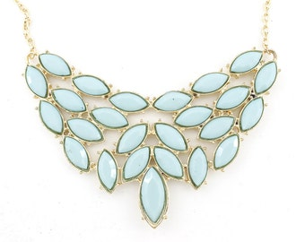 Gorgeous Gold-tone Light Blue Faceted Stone Plate Funky Statement Necklace